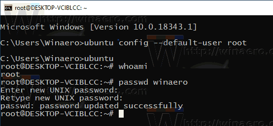 Windows 10 WSL Reset User Password