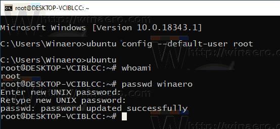 Windows 10 WSL Reset User Password