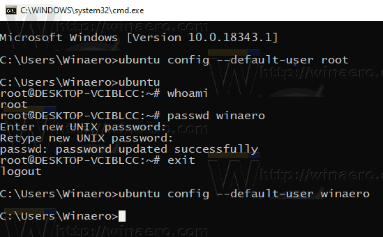 Windows 10 WSL Restore Default User Account