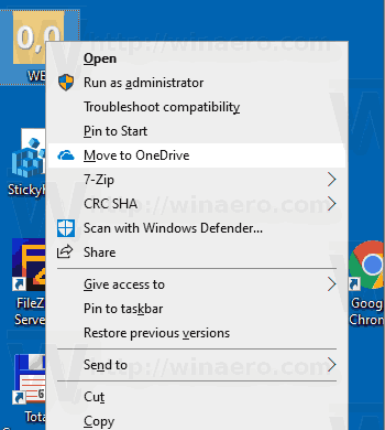 Windows 10 Move To Onedrive Context Menu