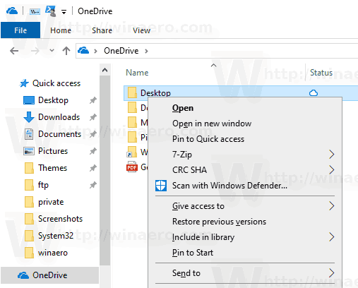 Remove OneDrive Context Menu in Windows 10