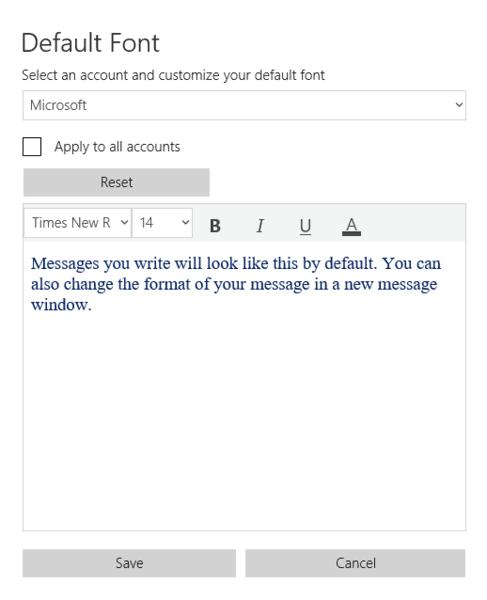 Mail App Default Font