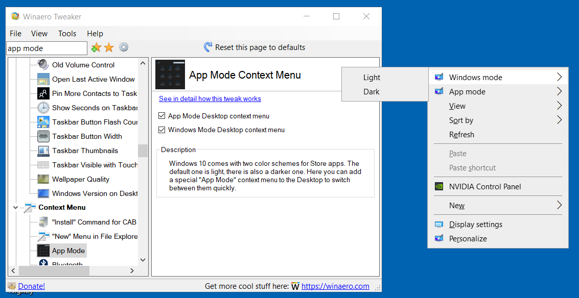 Winaero Tweaker Windows Mode Context Menu