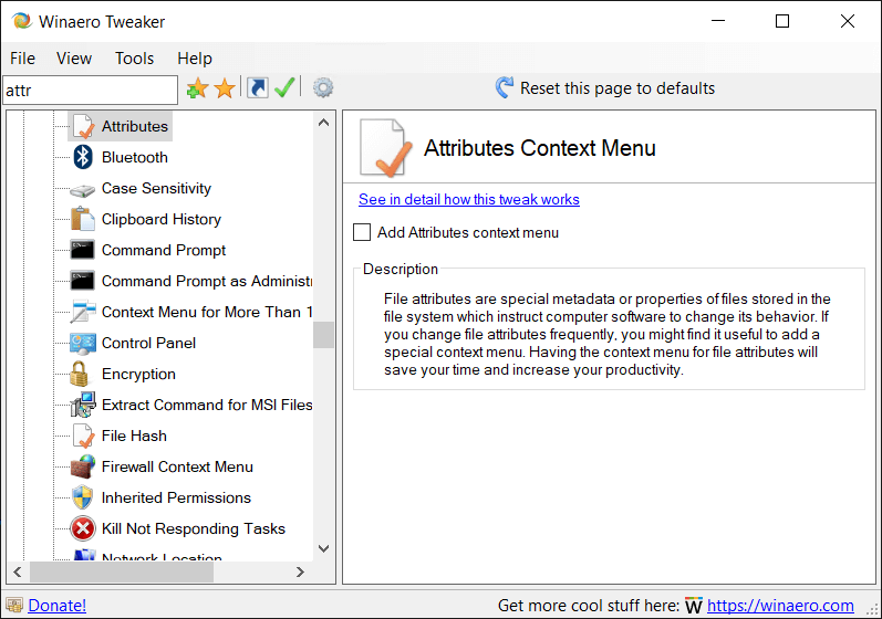 Winaero Tweaker Attributes Context Menu