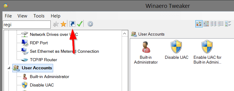 Winaero Tweaker Create Shortcut Button