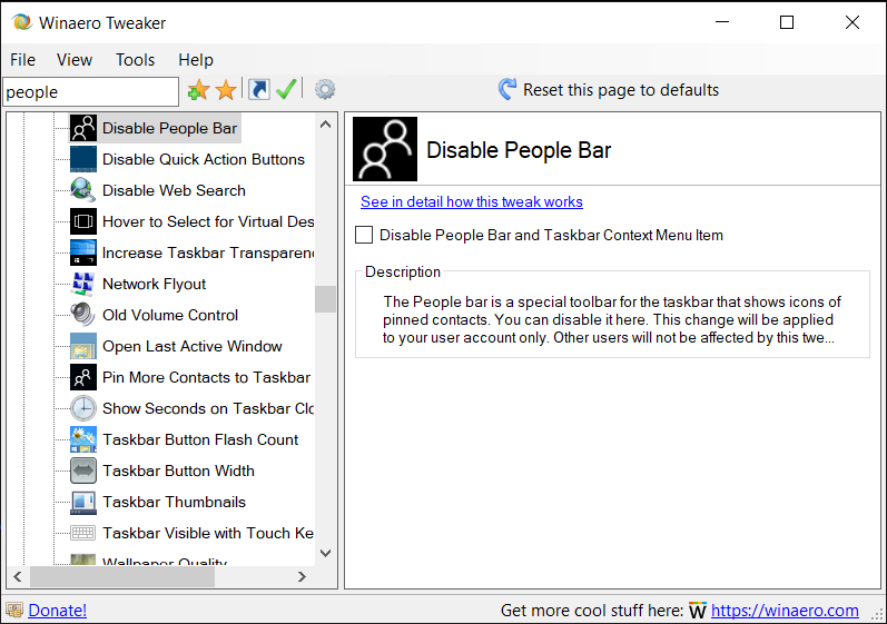 Winaero Tweaker Disable People Bar