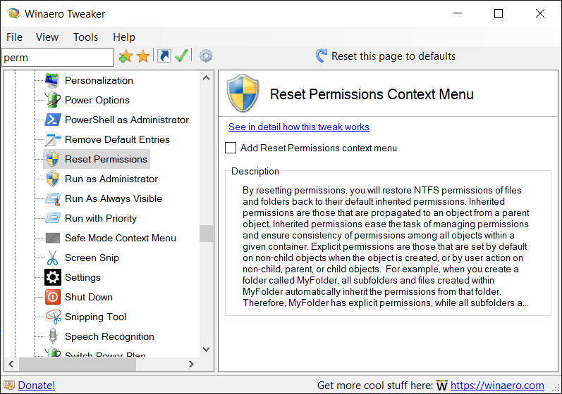 Winaero Tweaker Reset Permissions Context Menu