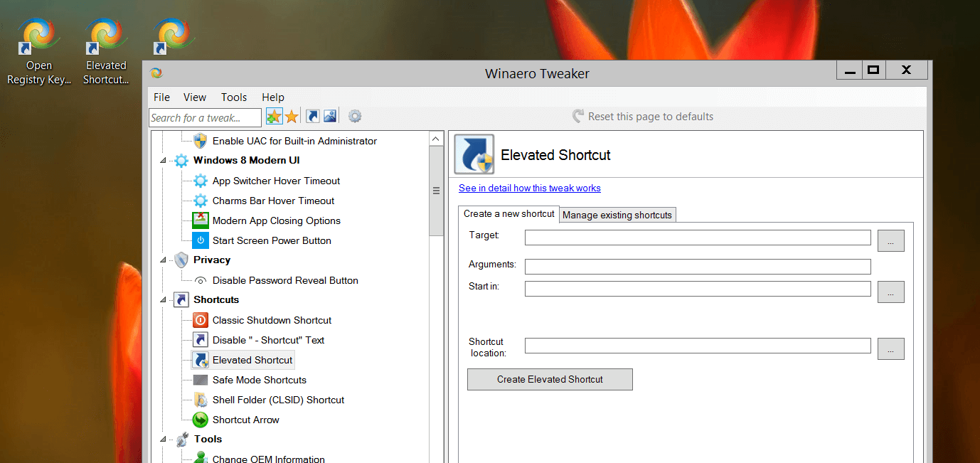 Winaero Tweaker Shortcut Goes Directly