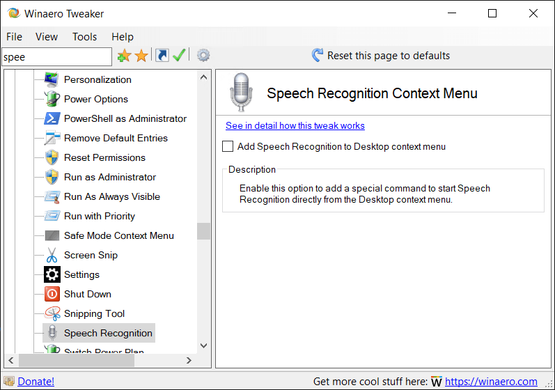 Winaero Tweaker Speech Recognition Context Menu