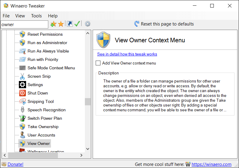 Winaero Tweaker View Owner Context Menu