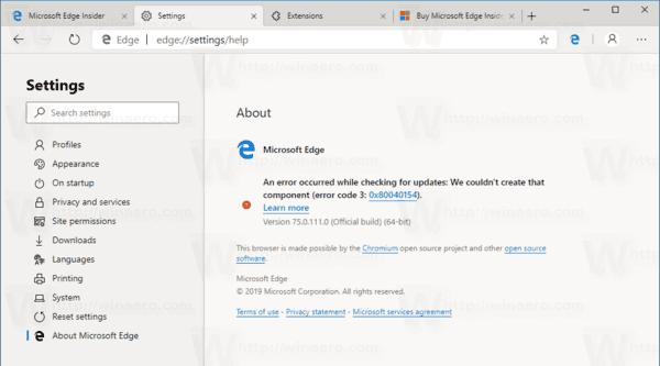 Windows 10 Chromium Edge Build 111
