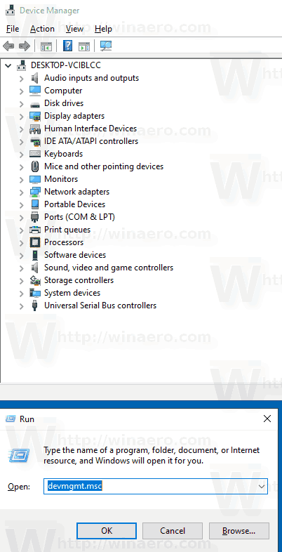 Windows 10 Device Manager Run