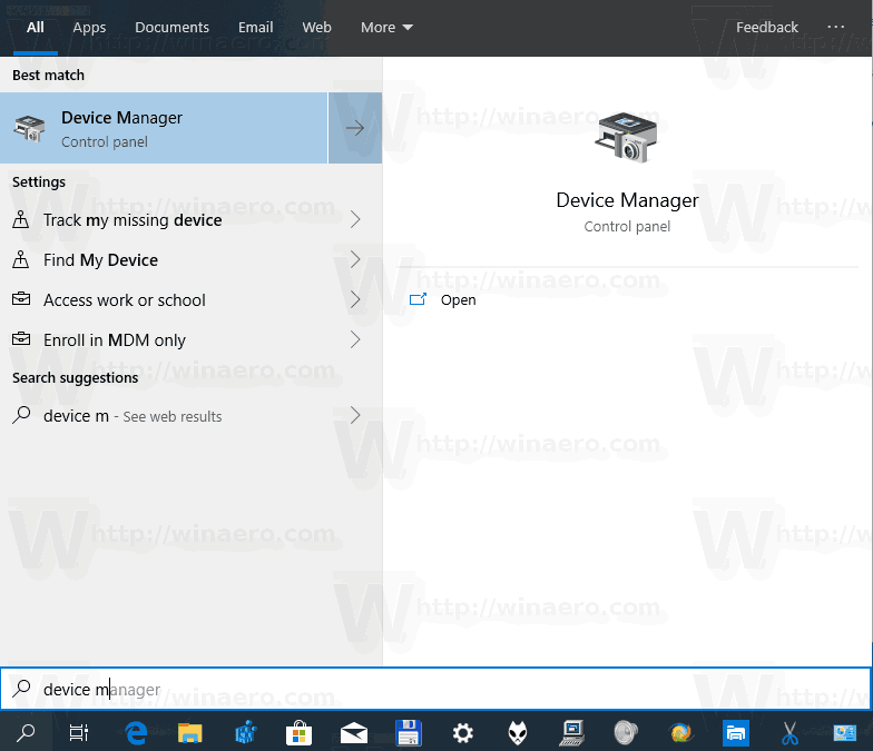 Windows 10 Device Manager Search