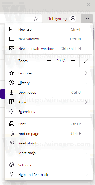 Windows 10 Edge Chromium Menu