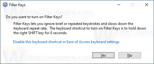 Enable or Disable Filter Keys in Windows 10