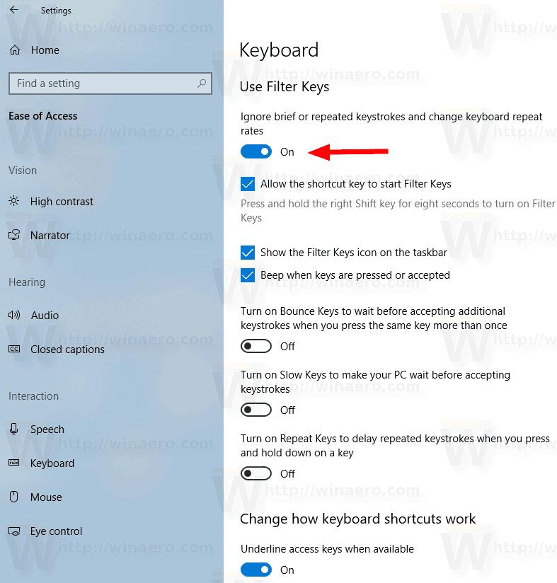 Backup and Restore Filter Keys Settings in Windows 10