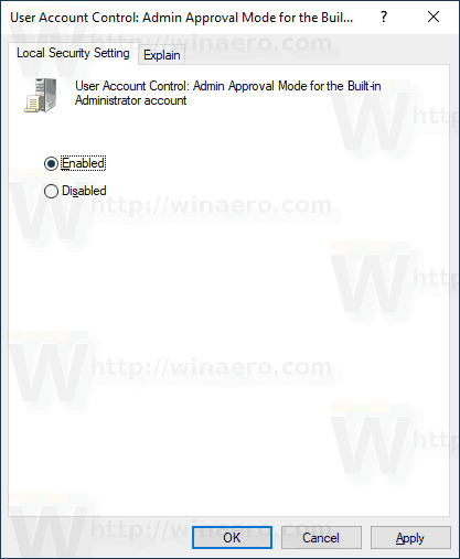 Windows 10 Enable UAC For Built In Administrator 2