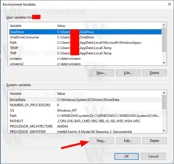 Windows 10 New System Environment Variable 2
