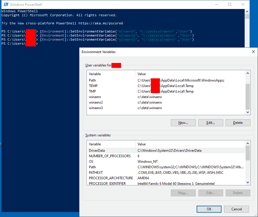 Windows 10 New User Variable PowerShell