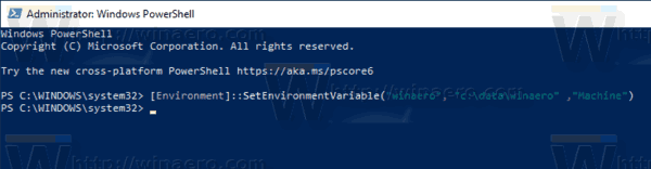 Windows 10 PowerShell New System Environment Vairable