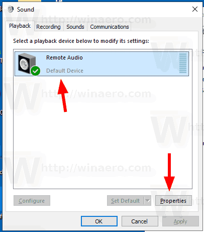 Windows 10 Select Audio Device Control Panel