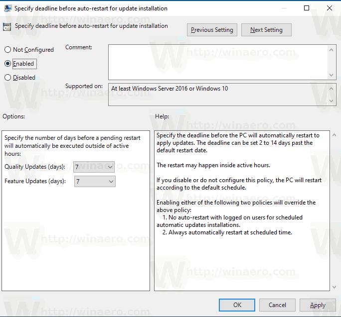 Windows 10 Specify Deadline Before Auto Restart For Update Installation 2
