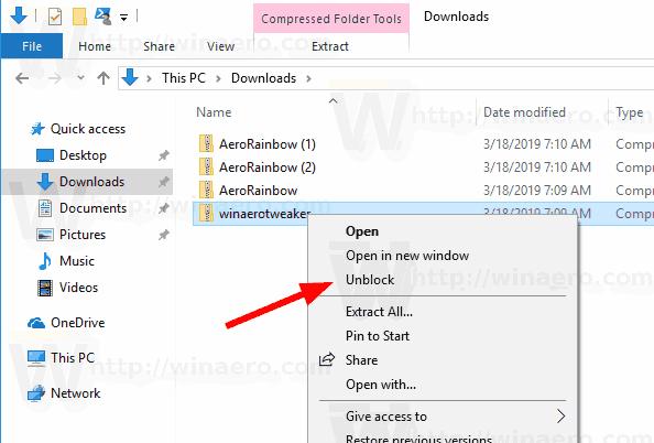 Windows 10 Unblock Files Context Menu