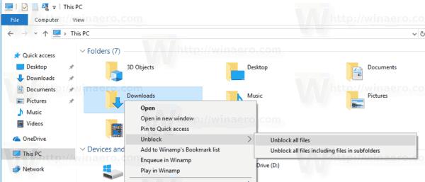 windows 10 unblock all files