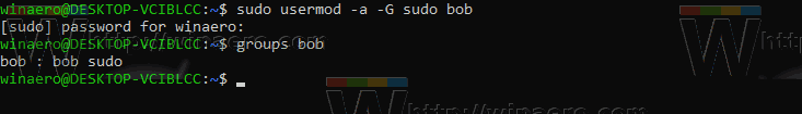 Windows 10 WSL Add User To Sudo