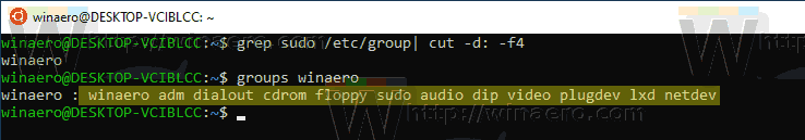 Windows 10 WSL Find Groups For User