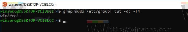 Windows 10 WSL Find Sudo Users