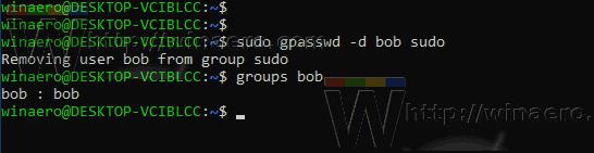 Windows 10 WSL Remove User From Sudo
