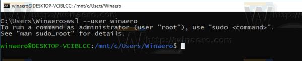 Windows 10 WSL Run As User 1