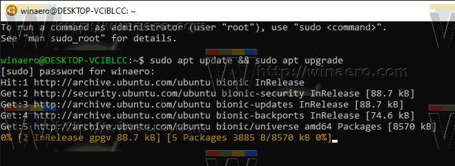 Windows 10 WSL Upgrade Progress