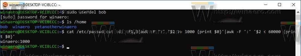 Windows 10 WSL User Removed