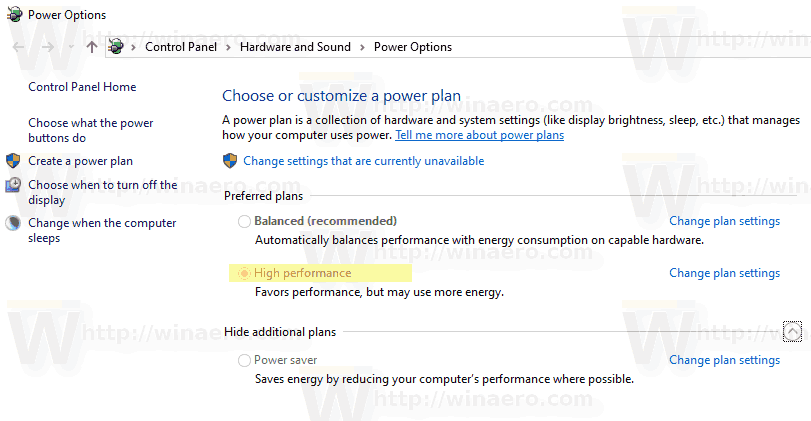 Windows 10 Active Power Plan