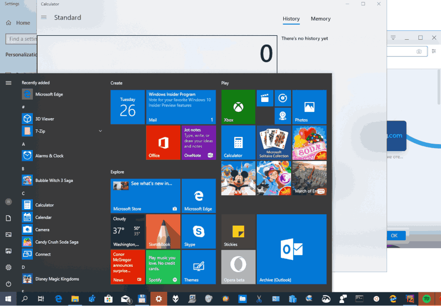 Windows 10 Start Menu Open Apps In The Background