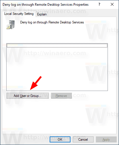 Add User To Deny Log On Through Remote Desktop Services Policy