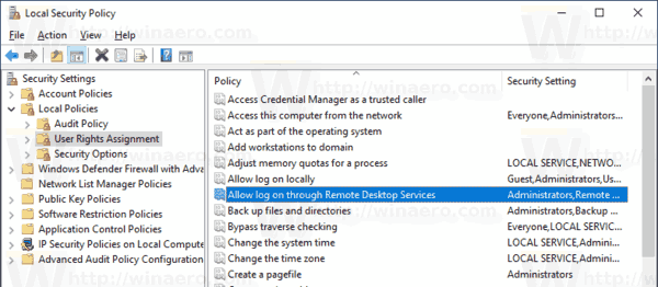 Allow or Deny Users to Logon with Remote Desktop in Windows 10