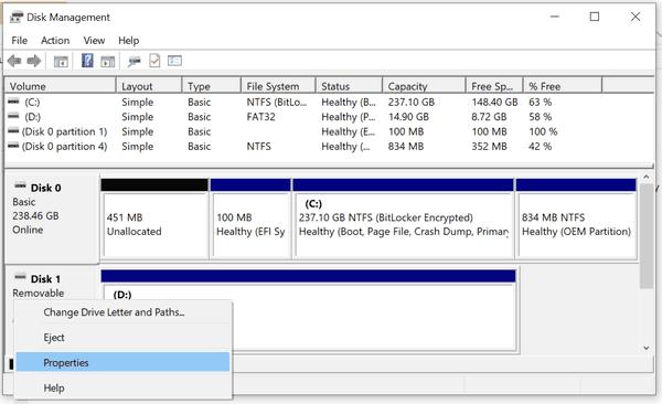 Disk Management Drive Properties Windows 10