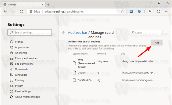 Edge Chromium Change Add Search Engine 1