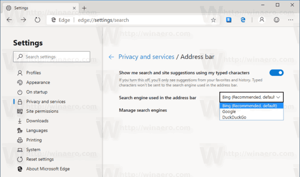 Edge Chromium Change Search Engine 2