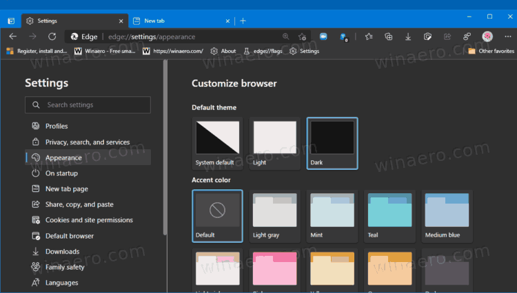Enable Dark Mode in Microsoft Edge