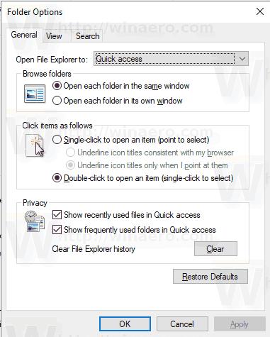 Folder Options General Tab