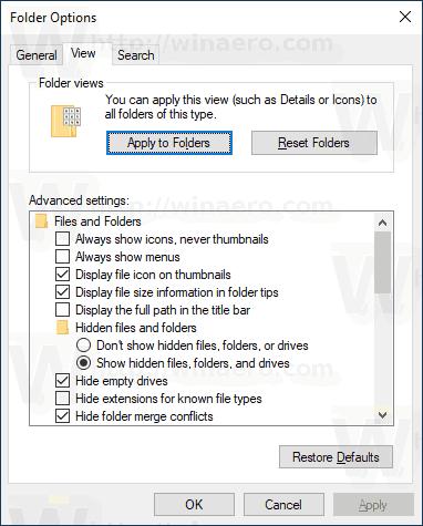 Folder Options View Tab