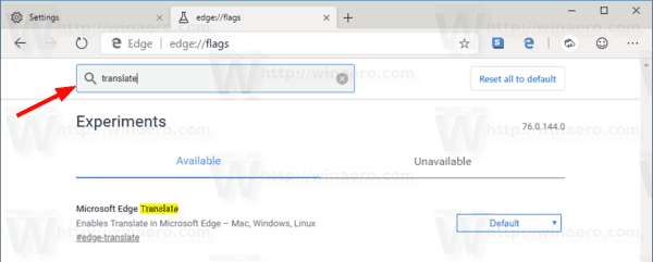 Microsoft Edge Canary Translate Flag