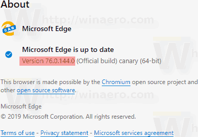 Microsoft Edge Canary Version 76 0 144