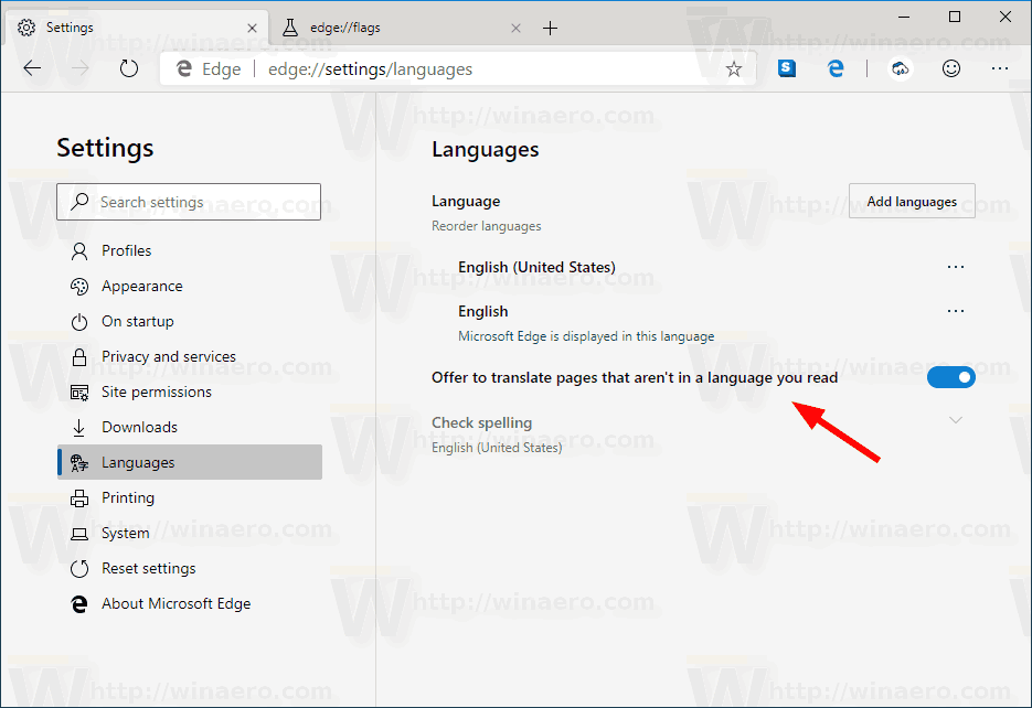 Microsoft Edge Enable Translator In Settings
