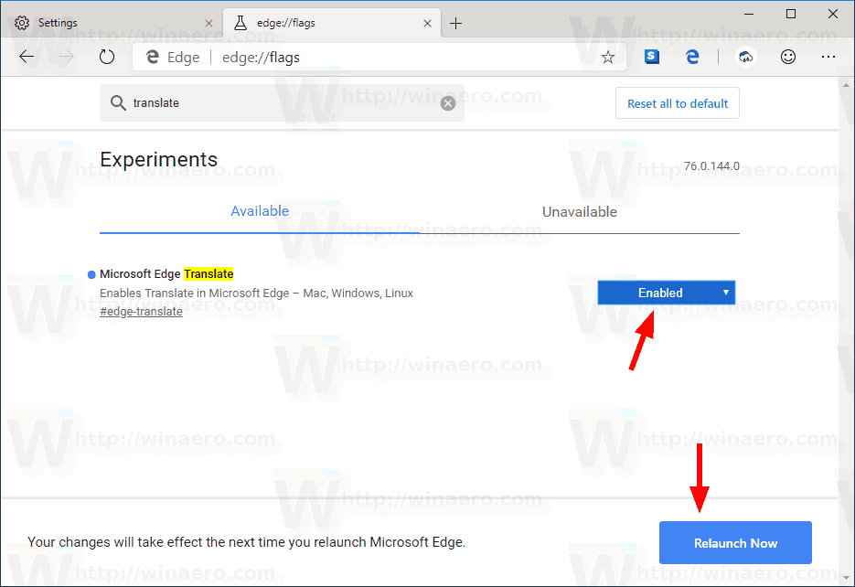Microsoft Edge Enable Translator