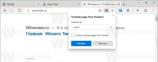 Microsoft Edge Translator Is Enabled
